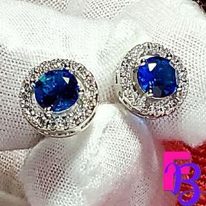 2 CTW Sapphire Halo Earrings